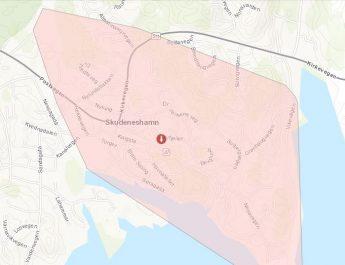 Store deler av Skudeneshavn uten strøm